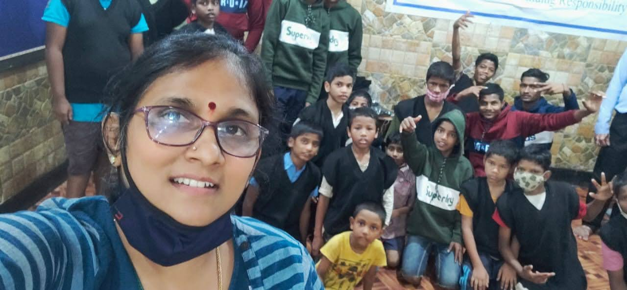 Enjoying happy moments with the inmates of Adruta Children\'s Home
