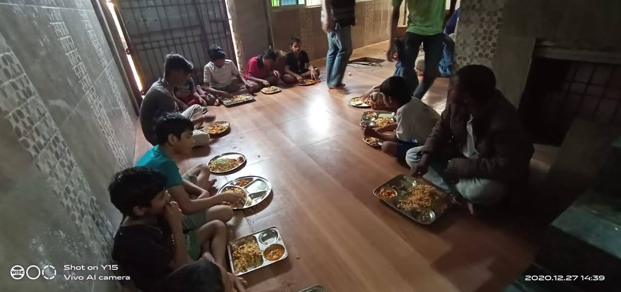 Food distribution at BMC Home Shelter