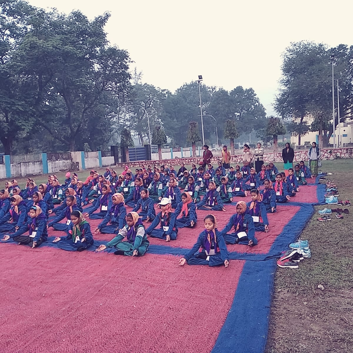 Celebration of Yoga Day at a school in Hyderabad